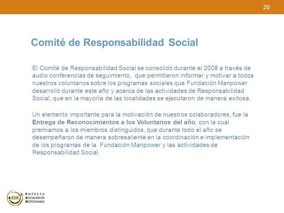 20 Comité de Responsabilidad Social El Comité de Responsabilidad Social se consolidó durante el 2008 a través de audio conferencias de seguimiento, qu