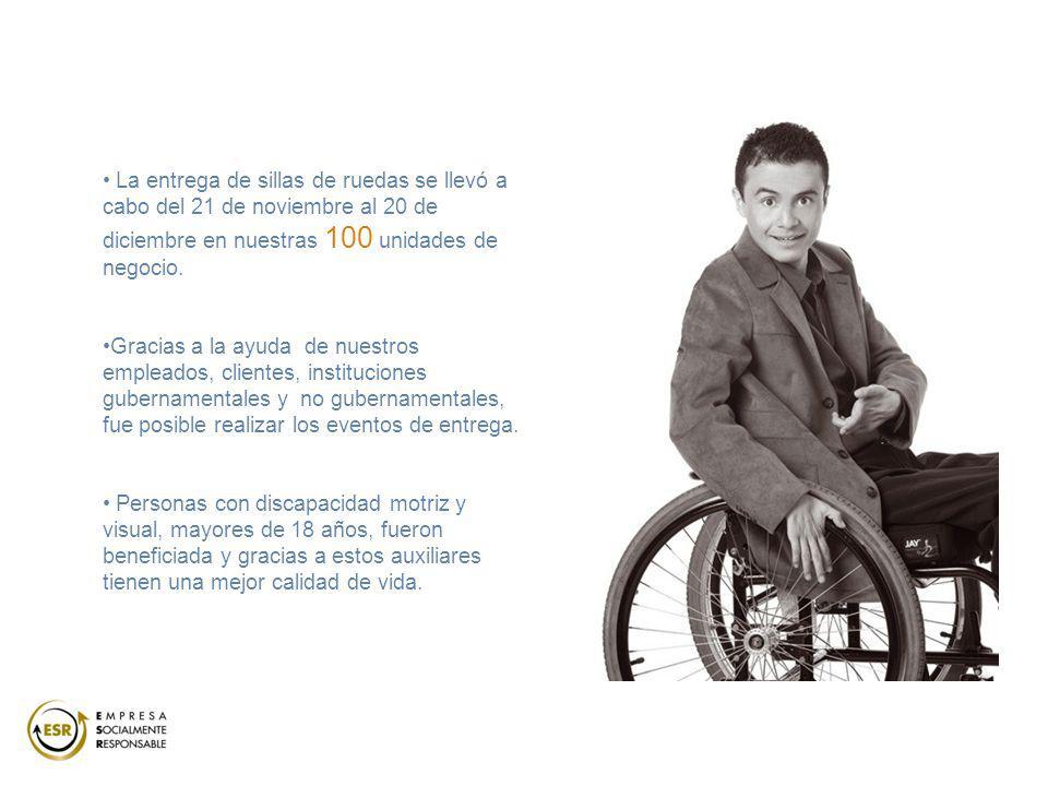 La entrega de sillas de ruedas se llevó a cabo del 21 de noviembre al 20 de diciembre en nuestras 100 unidades de negocio. Gracias a la ayuda de nuest