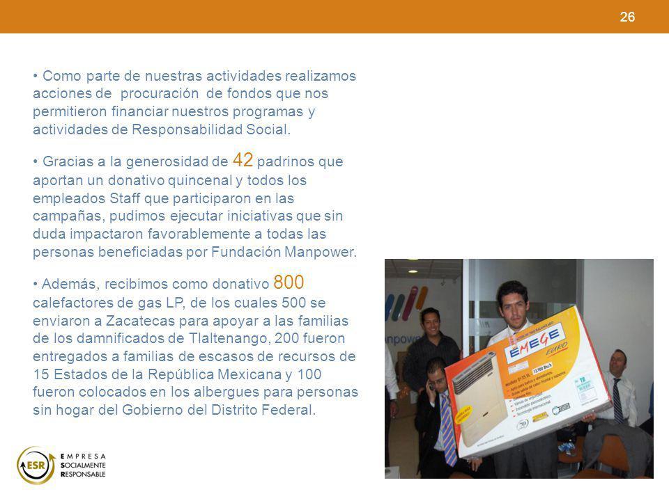 26 Como parte de nuestras actividades realizamos acciones de procuración de fondos que nos permitieron financiar nuestros programas y actividades de R
