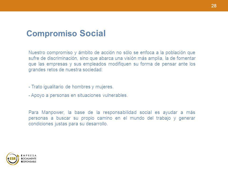 28 Compromiso Social Nuestro compromiso y ámbito de acción no sólo se enfoca a la población que sufre de discriminación, sino que abarca una visión má