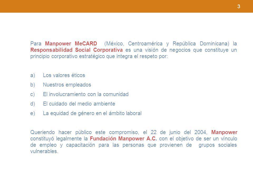 3 Para Manpower MeCARD (México, Centroamérica y República Dominicana) la Responsabilidad Social Corporativa es una visión de negocios que constituye u