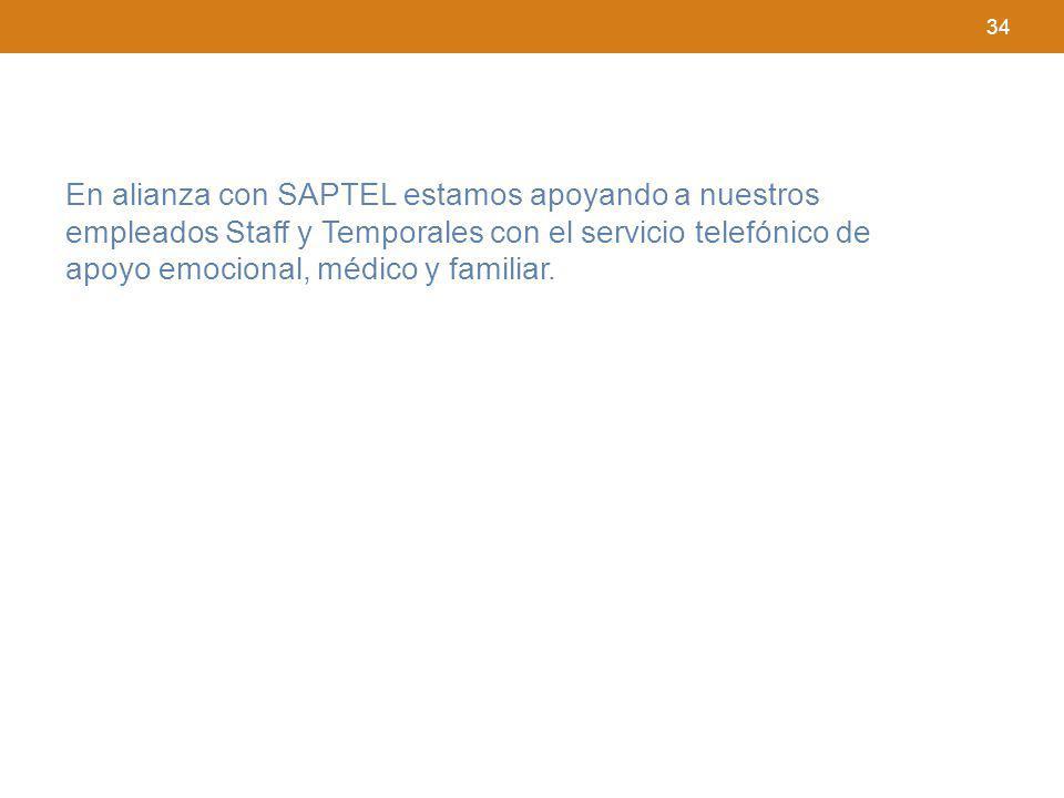 34 En alianza con SAPTEL estamos apoyando a nuestros empleados Staff y Temporales con el servicio telefónico de apoyo emocional, médico y familiar.