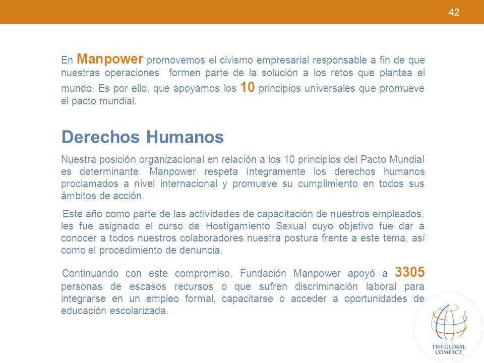 42 En Manpower promovemos el civismo empresarial responsable a fin de que nuestras operaciones formen parte de la solución a los retos que plantea el