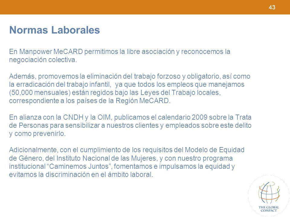 43 Normas Laborales En Manpower MeCARD permitimos la libre asociación y reconocemos la negociación colectiva. Además, promovemos la eliminación del tr
