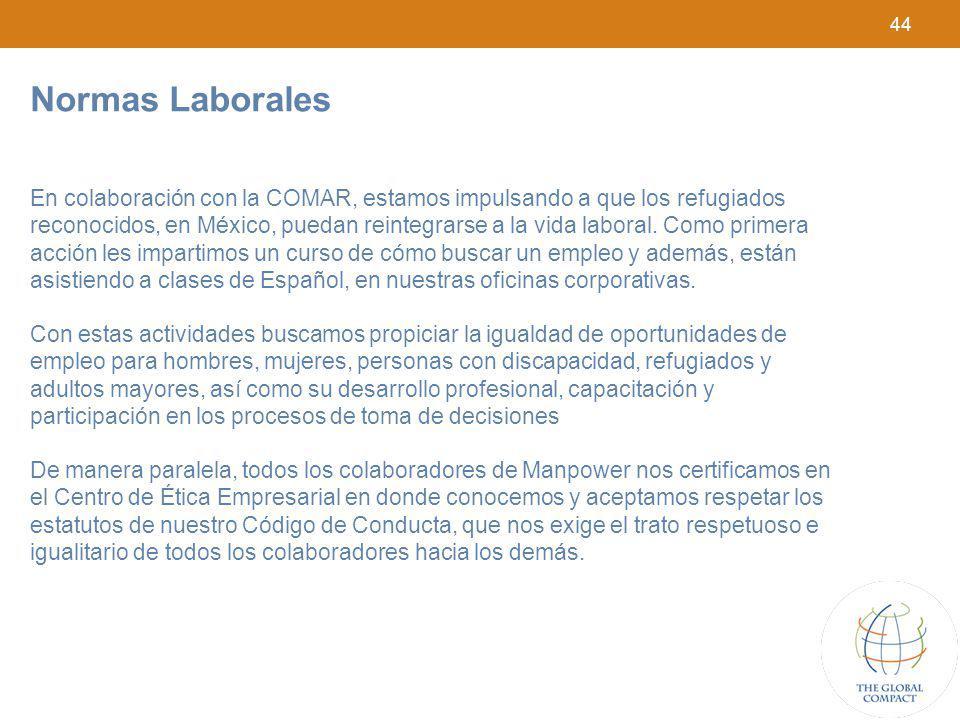 44 Normas Laborales En colaboración con la COMAR, estamos impulsando a que los refugiados reconocidos, en México, puedan reintegrarse a la vida labora