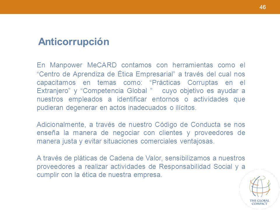 46 Anticorrupción En Manpower MeCARD contamos con herramientas como el Centro de Aprendiza de Ética Empresarial a través del cual nos capacitamos en t