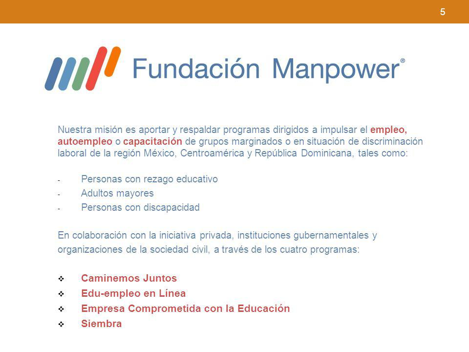 5 Nuestra misión es aportar y respaldar programas dirigidos a impulsar el empleo, autoempleo o capacitación de grupos marginados o en situación de dis