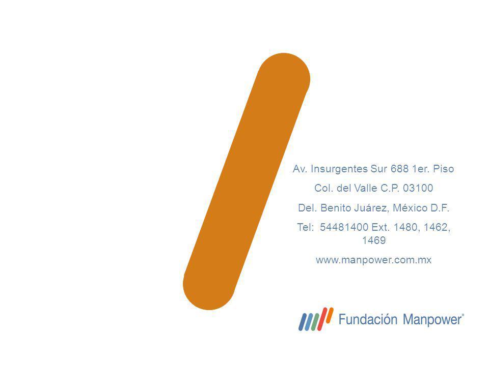 Av. Insurgentes Sur 688 1er. Piso Col. del Valle C.P. 03100 Del. Benito Juárez, México D.F. Tel: 54481400 Ext. 1480, 1462, 1469 www.manpower.com.mx