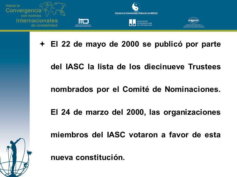 El 22 de mayo de 2000 se publicó por parte del IASC la lista de los diecinueve Trustees nombrados por el Comité de Nominaciones. El 24 de marzo del 20