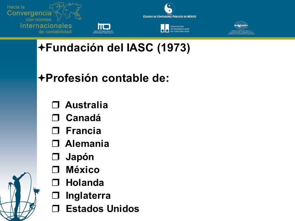 Fundación del IASC (1973) Profesión contable de: Australia Canadá Francia Alemania Japón México Holanda Inglaterra Estados Unidos