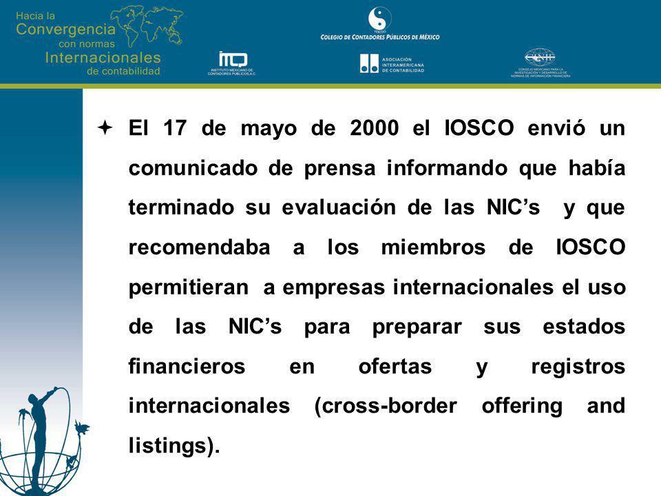 El 17 de mayo de 2000 el IOSCO envió un comunicado de prensa informando que había terminado su evaluación de las NICs y que recomendaba a los miembros