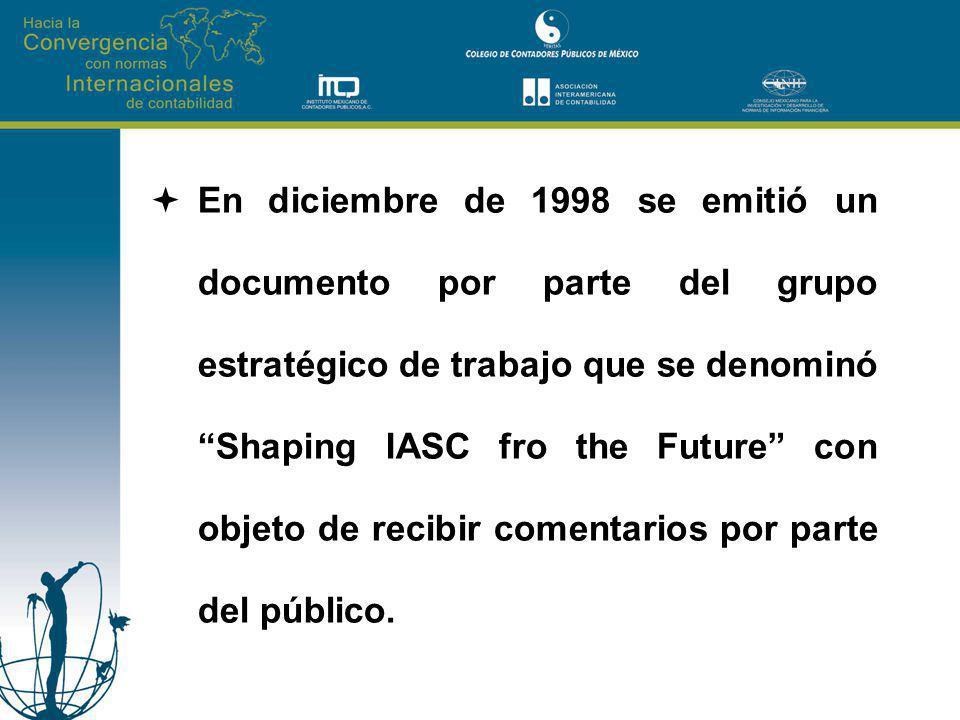 En diciembre de 1998 se emitió un documento por parte del grupo estratégico de trabajo que se denominó Shaping IASC fro the Future con objeto de recibir comentarios por parte del público.