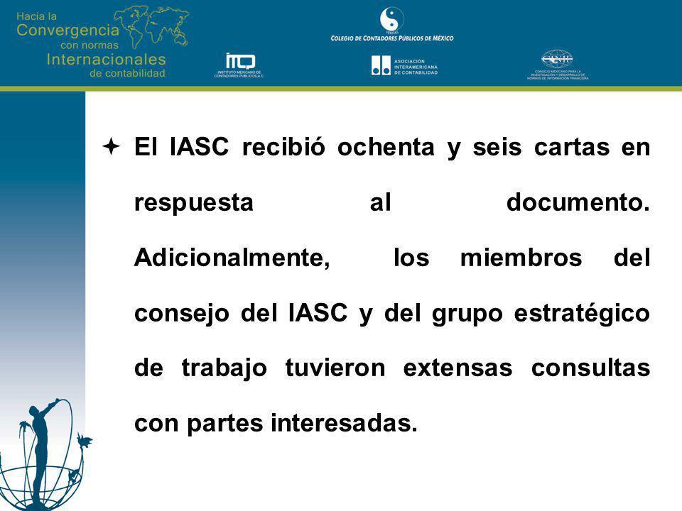 El IASC recibió ochenta y seis cartas en respuesta al documento. Adicionalmente, los miembros del consejo del IASC y del grupo estratégico de trabajo