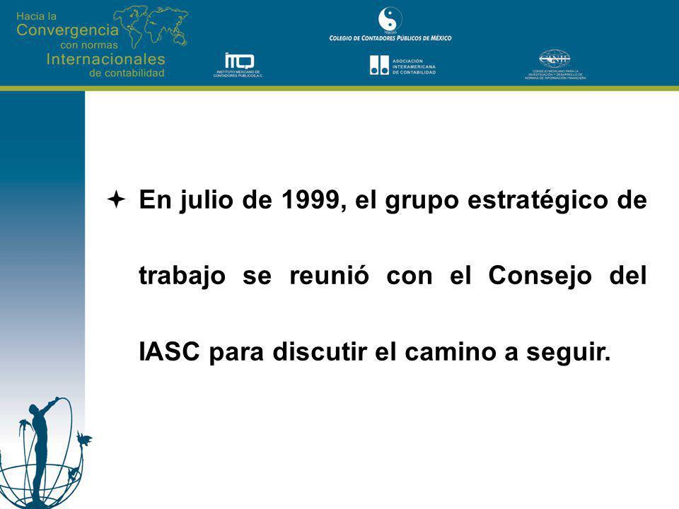 En la junta del consejo del IASC celebrada en Amsterdam en diciembre de 1999 se resolvió unanimemente apoyar el reporte del Grupo Estratégico de trabajo denominado Recommendations on Shaping IASC for the Future y recomendó que se prepararan las resoluciones para un cambio constitucional basadas en dicho reporte.