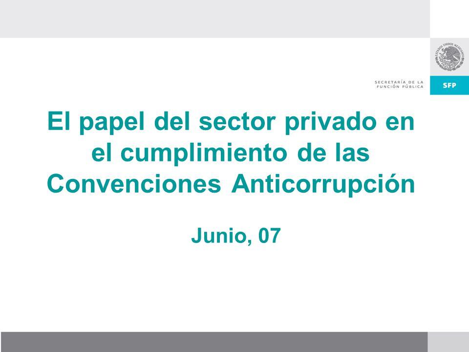 Objetivo de la presentación: Dar a conocer el papel que juega el sector privado en el cumplimiento de las convenciones internacionales anticorrupción y definir acciones conjuntas (empresarios y gobierno) para lograr su implementación.