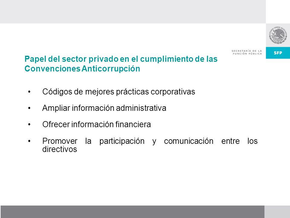 Códigos de mejores prácticas corporativas Ampliar información administrativa Ofrecer información financiera Promover la participación y comunicación entre los directivos Papel del sector privado en el cumplimiento de las Convenciones Anticorrupción