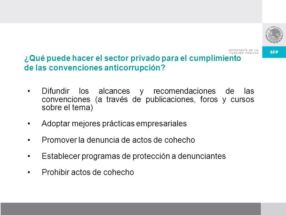 Difundir los alcances y recomendaciones de las convenciones (a través de publicaciones, foros y cursos sobre el tema) Adoptar mejores prácticas empres