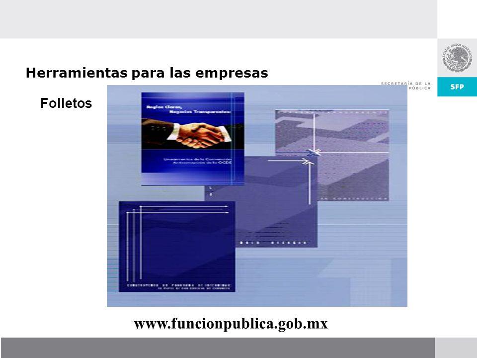 Folletos Herramientas para las empresas www.funcionpublica.gob.mx