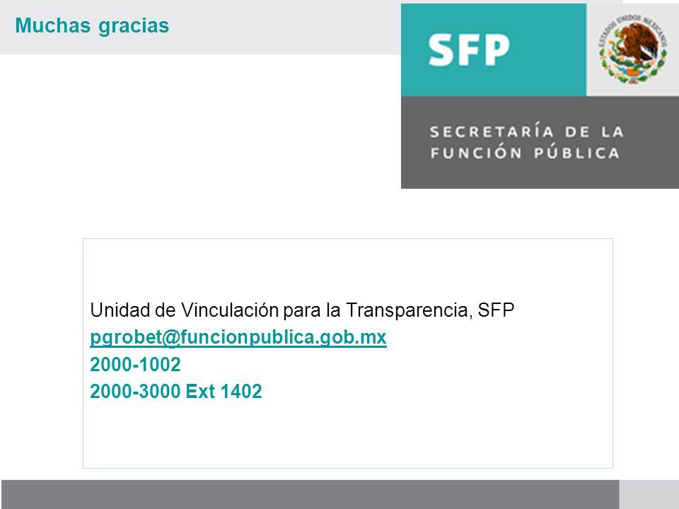 Muchas gracias Unidad de Vinculación para la Transparencia, SFP pgrobet@funcionpublica.gob.mx 2000-1002 2000-3000 Ext 1402