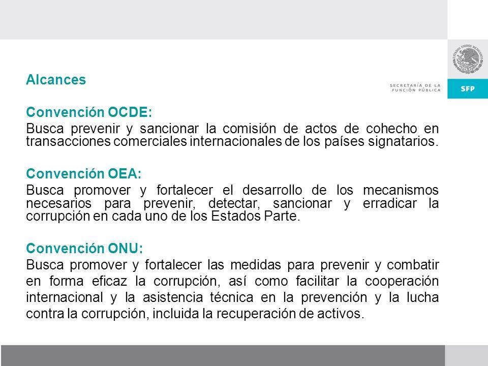 Alcances Convención OCDE: Busca prevenir y sancionar la comisión de actos de cohecho en transacciones comerciales internacionales de los países signatarios.