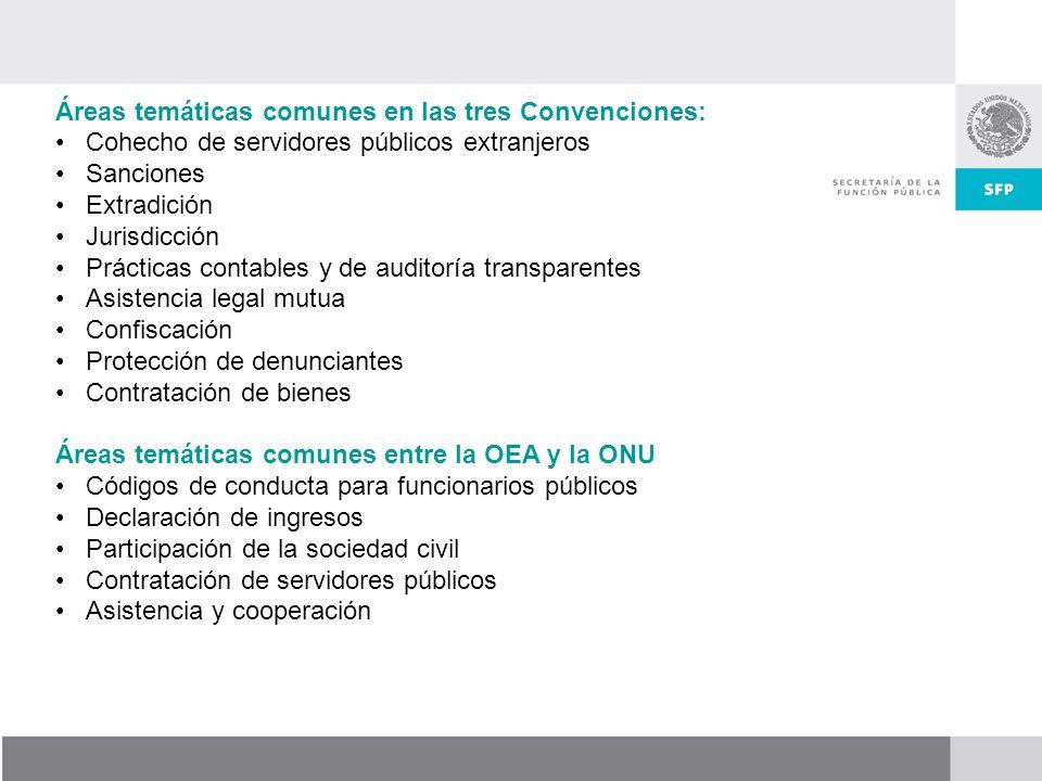 Áreas temáticas comunes en las tres Convenciones: Cohecho de servidores públicos extranjeros Sanciones Extradición Jurisdicción Prácticas contables y