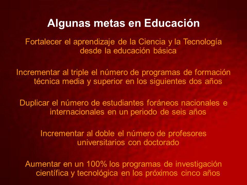 Algunas metas en Educación Fortalecer el aprendizaje de la Ciencia y la Tecnología desde la educación básica Incrementar al triple el número de progra