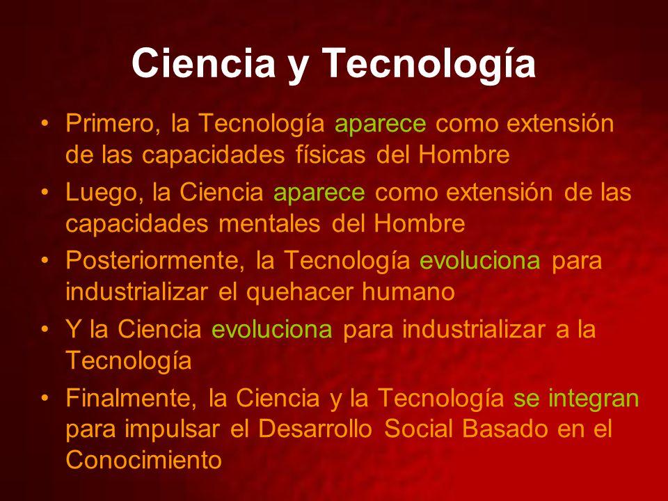 Ciencia y Tecnología Primero, la Tecnología aparece como extensión de las capacidades físicas del Hombre Luego, la Ciencia aparece como extensión de las capacidades mentales del Hombre Posteriormente, la Tecnología evoluciona para industrializar el quehacer humano Y la Ciencia evoluciona para industrializar a la Tecnología Finalmente, la Ciencia y la Tecnología se integran para impulsar el Desarrollo Social Basado en el Conocimiento