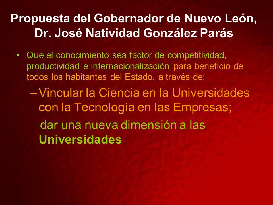 Propuesta del Gobernador de Nuevo León, Dr. José Natividad González Parás Que el conocimiento sea factor de competitividad, productividad e internacio