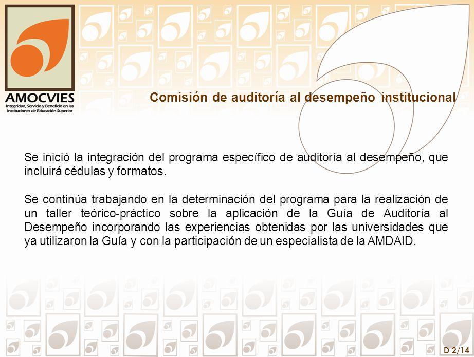 D 3/14 Comisión de auditoría a la matrícula En diciembre de 2008, se llevó a cabo en la Universidad Autónoma del Estado de México, una reunión para acordar lo relacionado con el segundo Taller de Aplicación de la Guía de Auditoría a la Matrícula en las UPES para el modelo de Asignación Adicional al Subsidio Federal Ordinario; mismo que se llevó a cabo en enero de 2009 en la Benemérita Universidad Autónoma de Puebla, contando con la presencia de 93 participantes.