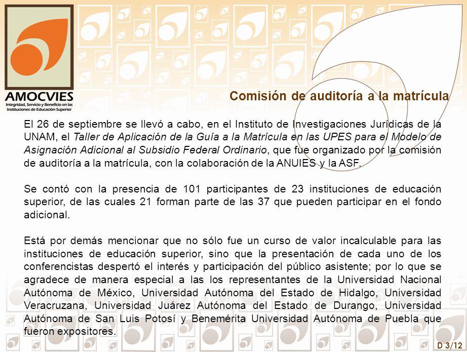 D 3/12 Comisión de auditoría a la matrícula El 26 de septiembre se llevó a cabo, en el Instituto de Investigaciones Jurídicas de la UNAM, el Taller de