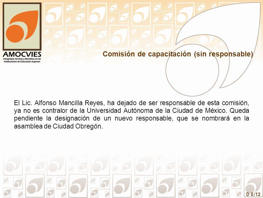 D 5/12 Comisión de capacitación (sin responsable) El Lic. Alfonso Mancilla Reyes, ha dejado de ser responsable de esta comisión, ya no es contralor de