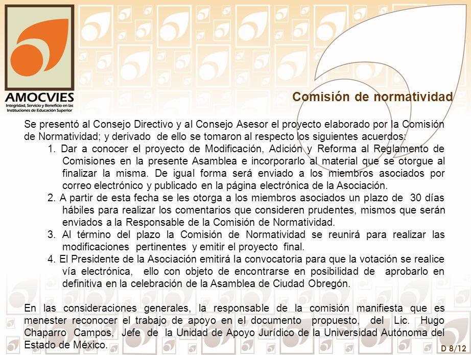 D 8/12 Comisión de normatividad Se presentó al Consejo Directivo y al Consejo Asesor el proyecto elaborado por la Comisión de Normatividad; y derivado