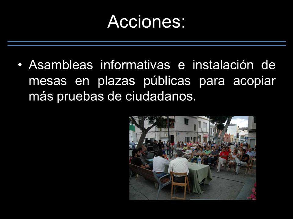 Acciones: Asambleas informativas e instalación de mesas en plazas públicas para acopiar más pruebas de ciudadanos.
