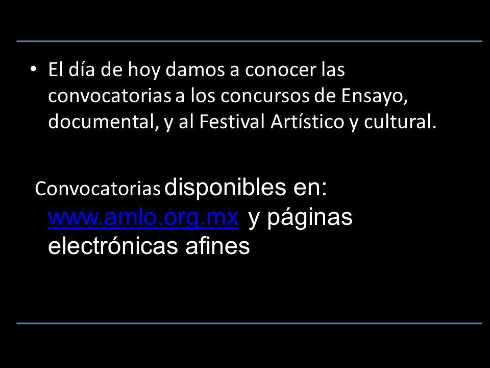 El día de hoy damos a conocer las convocatorias a los concursos de Ensayo, documental, y al Festival Artístico y cultural.