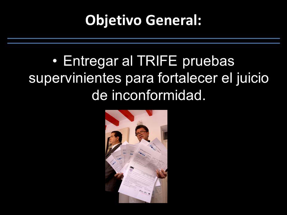 Objetivo General: Entregar al TRIFE pruebas supervinientes para fortalecer el juicio de inconformidad.