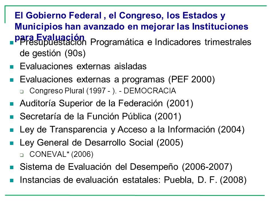 El Gobierno Federal, el Congreso, los Estados y Municipios han avanzado en mejorar las Instituciones para Evaluación Presupuestación Programática e In