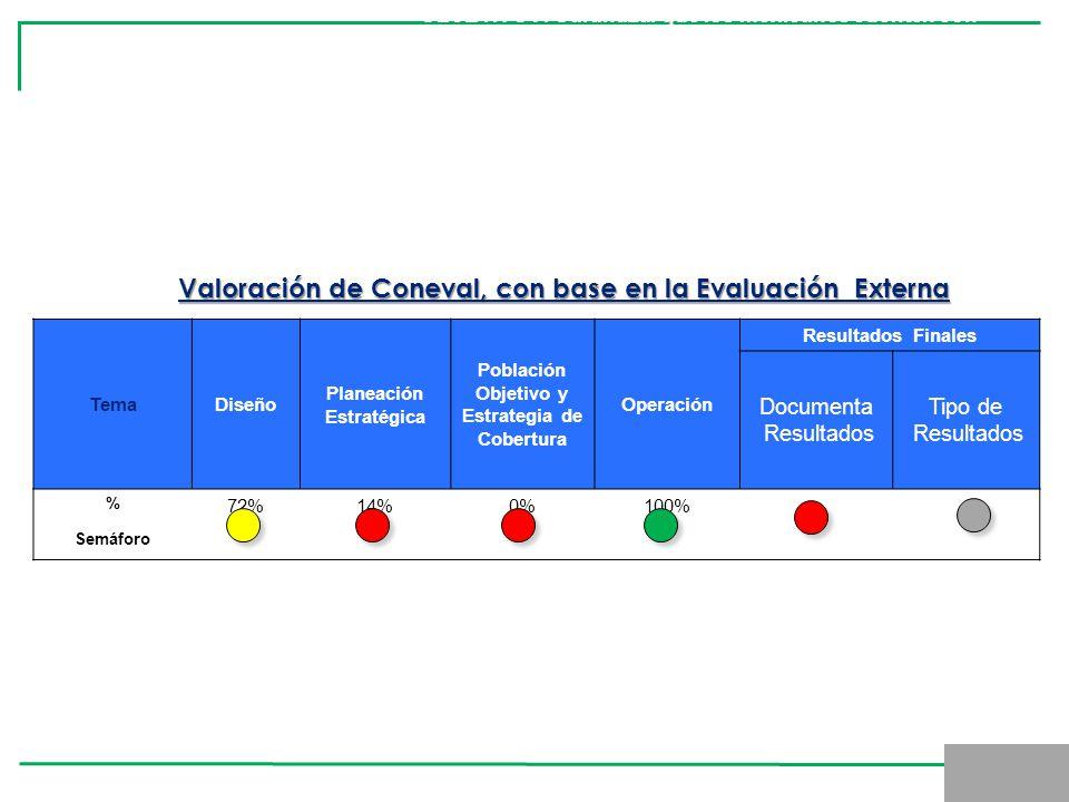 TemaDiseño Planeación Estratégica Población Objetivo y Estrategia de Cobertura Operación Resultados Finales Documenta Resultados Tipo de Resultados %