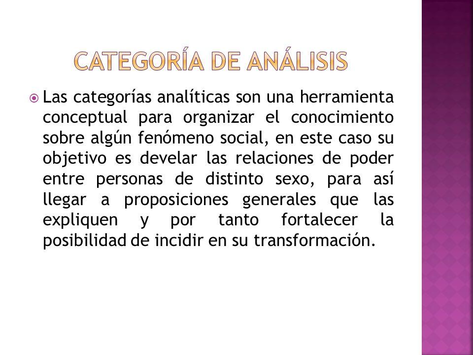 Las categorías analíticas son una herramienta conceptual para organizar el conocimiento sobre algún fenómeno social, en este caso su objetivo es devel