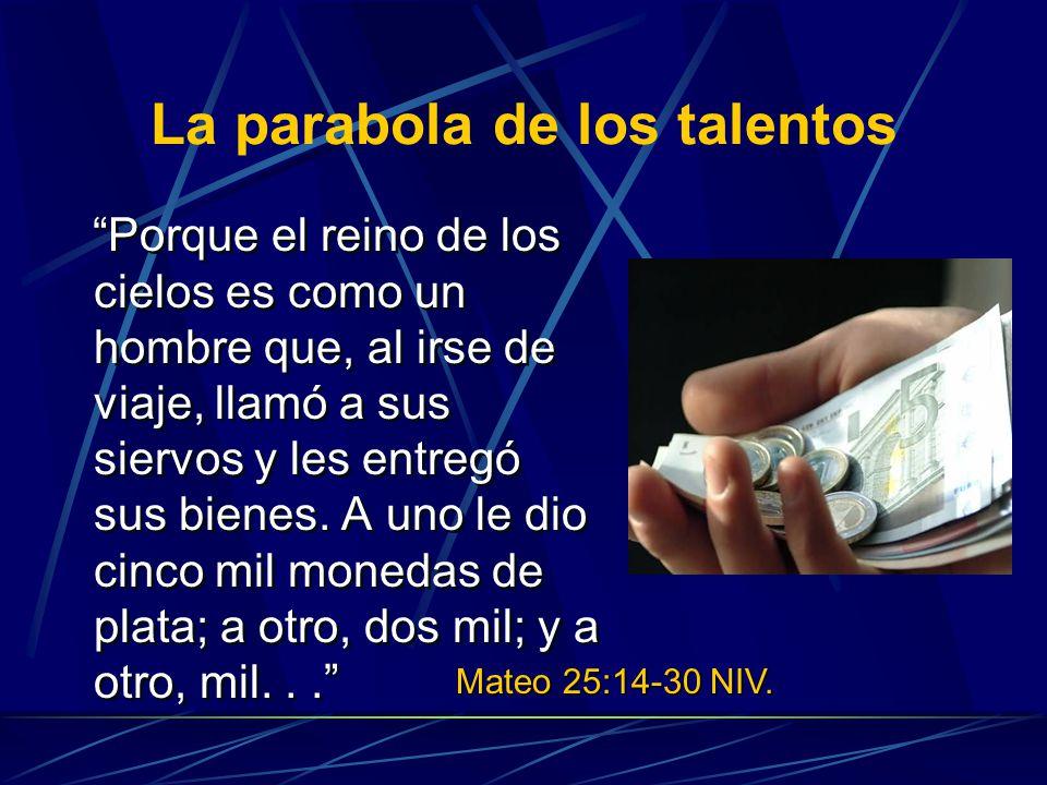 La parabola de los talentos Porque el reino de los cielos es como un hombre que, al irse de viaje, llamó a sus siervos y les entregó sus bienes. A uno