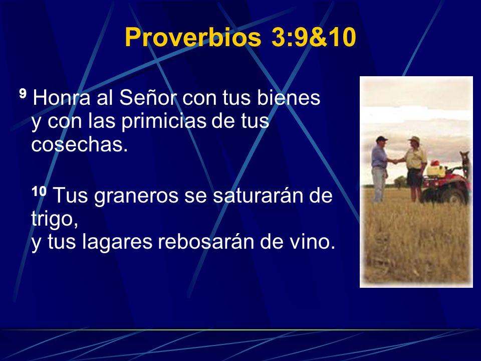 Proverbios 3:9&10 9 Honra al Señor con tus bienes y con las primicias de tus cosechas. 10 Tus graneros se saturarán de trigo, y tus lagares rebosarán