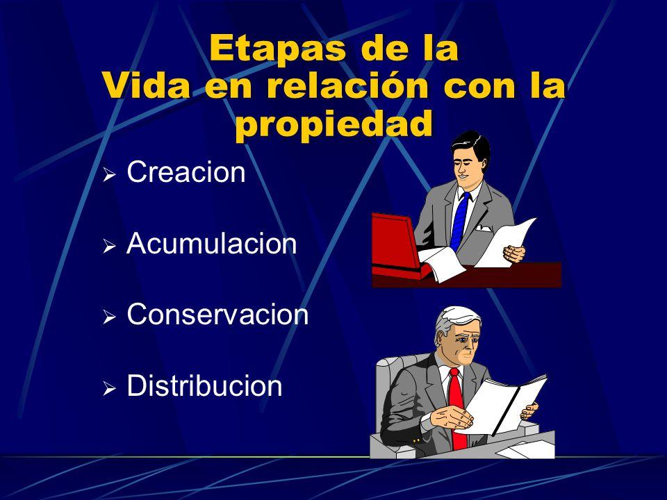 Etapas de la Vida en relación con la propiedad Creacion Acumulacion Conservacion Distribucion