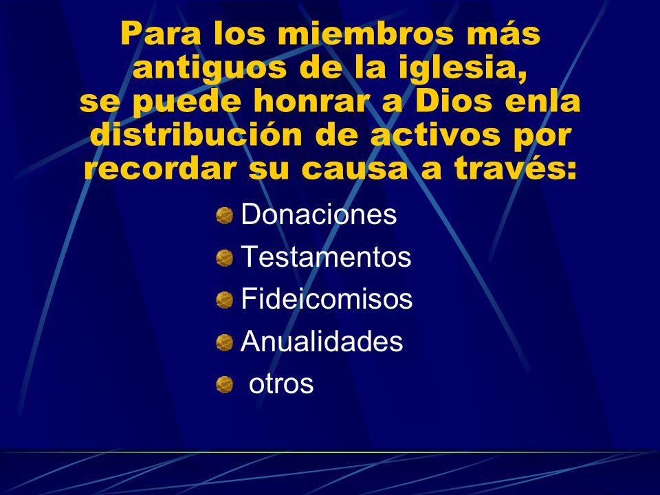 Para los miembros más antiguos de la iglesia, se puede honrar a Dios enla distribución de activos por recordar su causa a través: Donaciones Testament