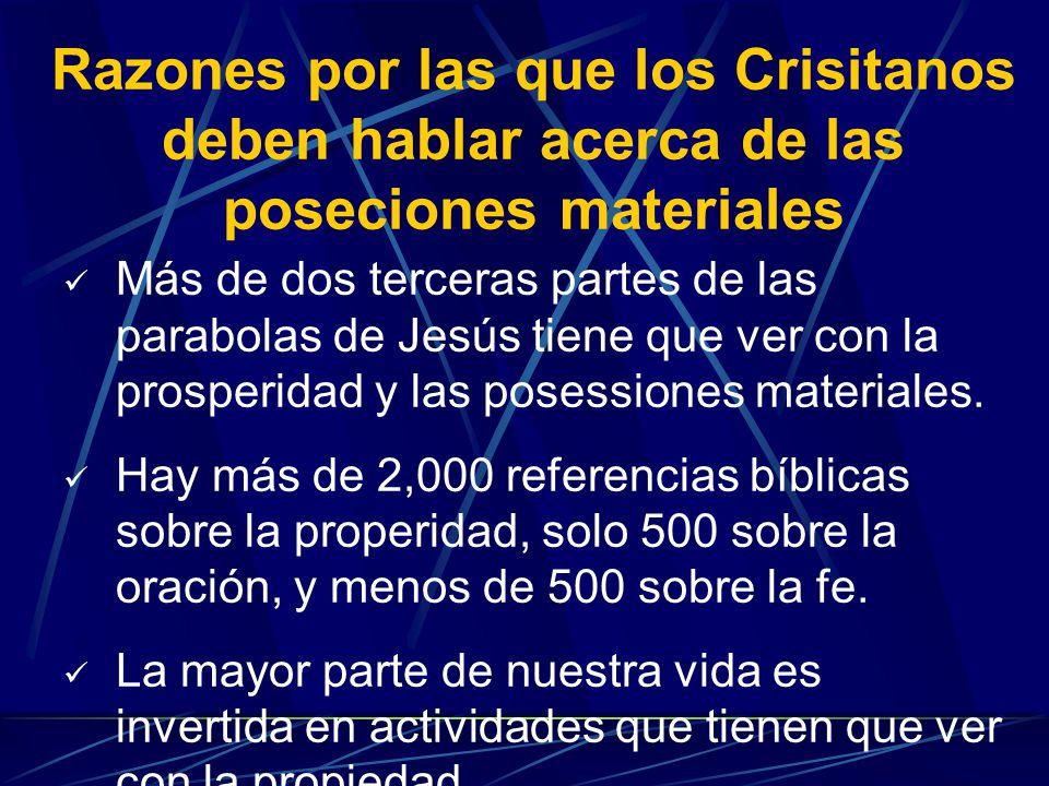 Razones por las que los Crisitanos deben hablar acerca de las poseciones materiales Más de dos terceras partes de las parabolas de Jesús tiene que ver