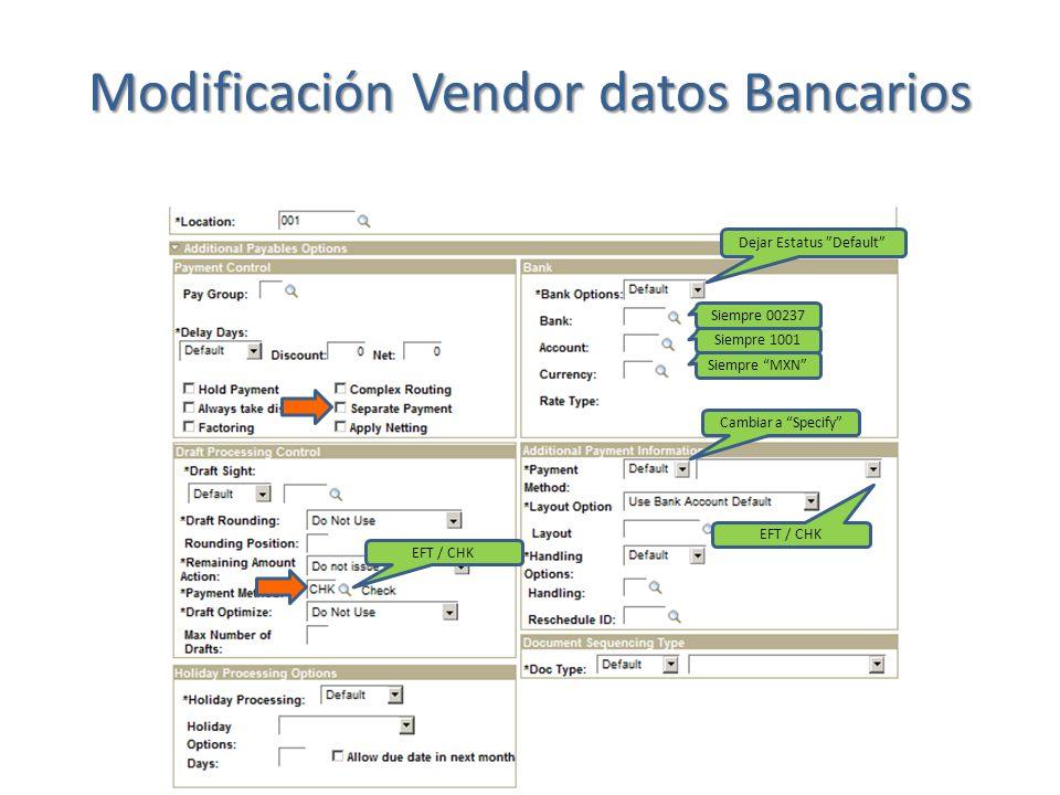 3) Dar doble Click en Vendor Bank Account Options para modificar los datos bancarios.