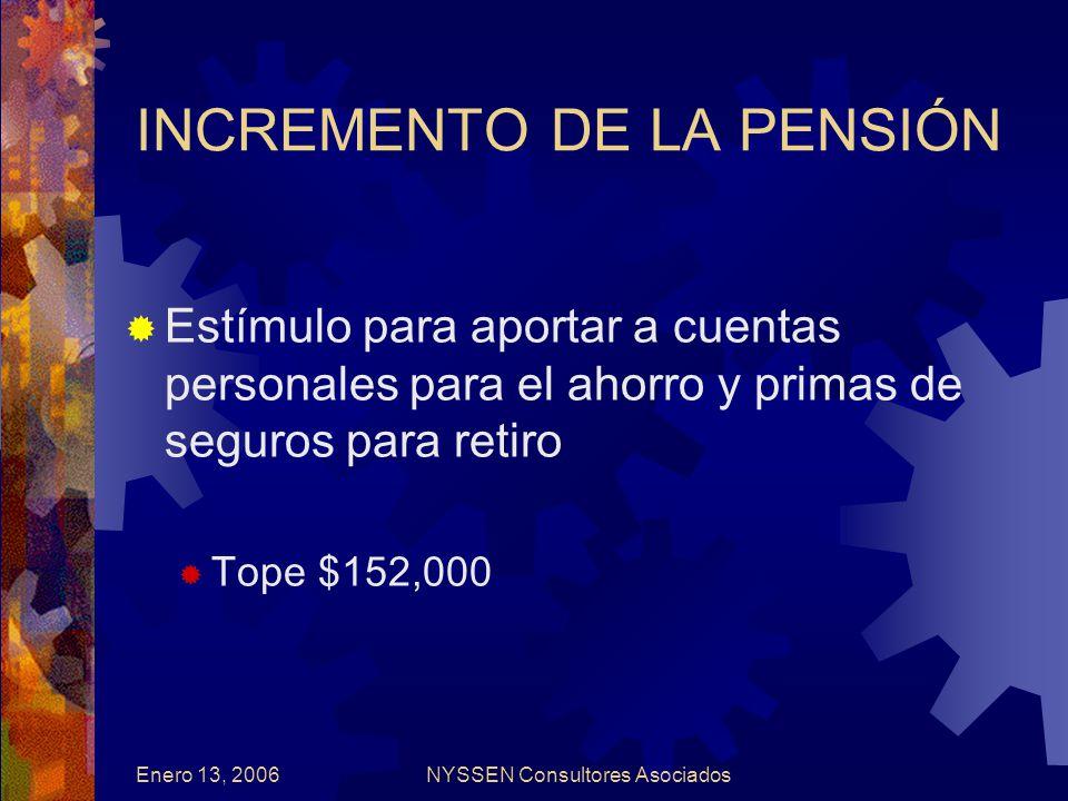 Enero 13, 2006NYSSEN Consultores Asociados INCREMENTO DE LA PENSIÓN Estímulo para aportar a cuentas personales para el ahorro y primas de seguros para retiro Tope $152,000
