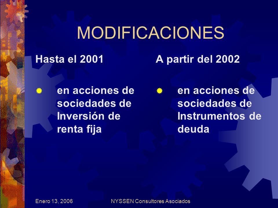 Enero 13, 2006NYSSEN Consultores Asociados MODIFICACIONES Hasta el 2001 en acciones de sociedades de Inversión de renta fija A partir del 2002 en acciones de sociedades de Instrumentos de deuda