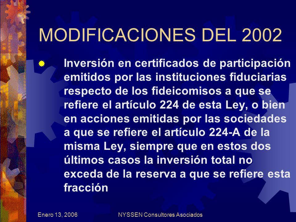 Enero 13, 2006NYSSEN Consultores Asociados MODIFICACIONES DEL 2002 Inversión en certificados de participación emitidos por las instituciones fiduciarias respecto de los fideicomisos a que se refiere el artículo 224 de esta Ley, o bien en acciones emitidas por las sociedades a que se refiere el artículo 224-A de la misma Ley, siempre que en estos dos últimos casos la inversión total no exceda de la reserva a que se refiere esta fracción