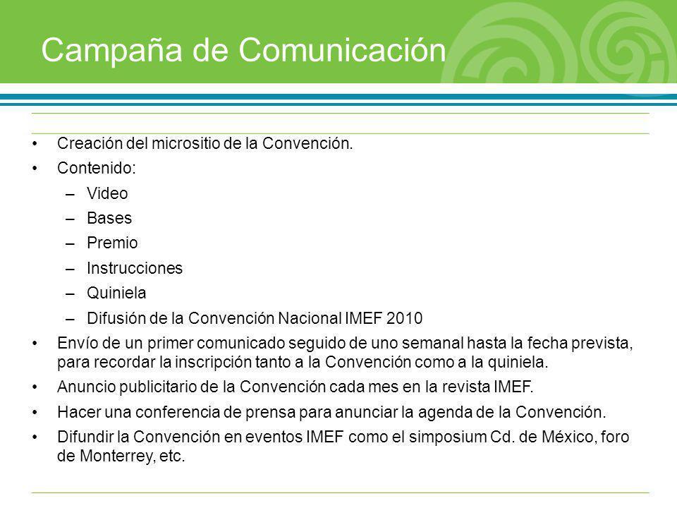 Campaña de Comunicación Creación del micrositio de la Convención. Contenido: –Video –Bases –Premio –Instrucciones –Quiniela –Difusión de la Convención