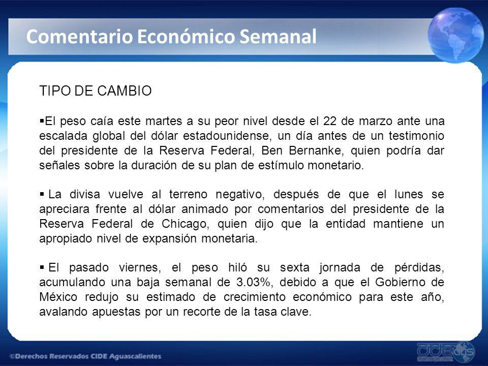 TIPO DE CAMBIO El peso caía este martes a su peor nivel desde el 22 de marzo ante una escalada global del dólar estadounidense, un día antes de un testimonio del presidente de la Reserva Federal, Ben Bernanke, quien podría dar señales sobre la duración de su plan de estímulo monetario.