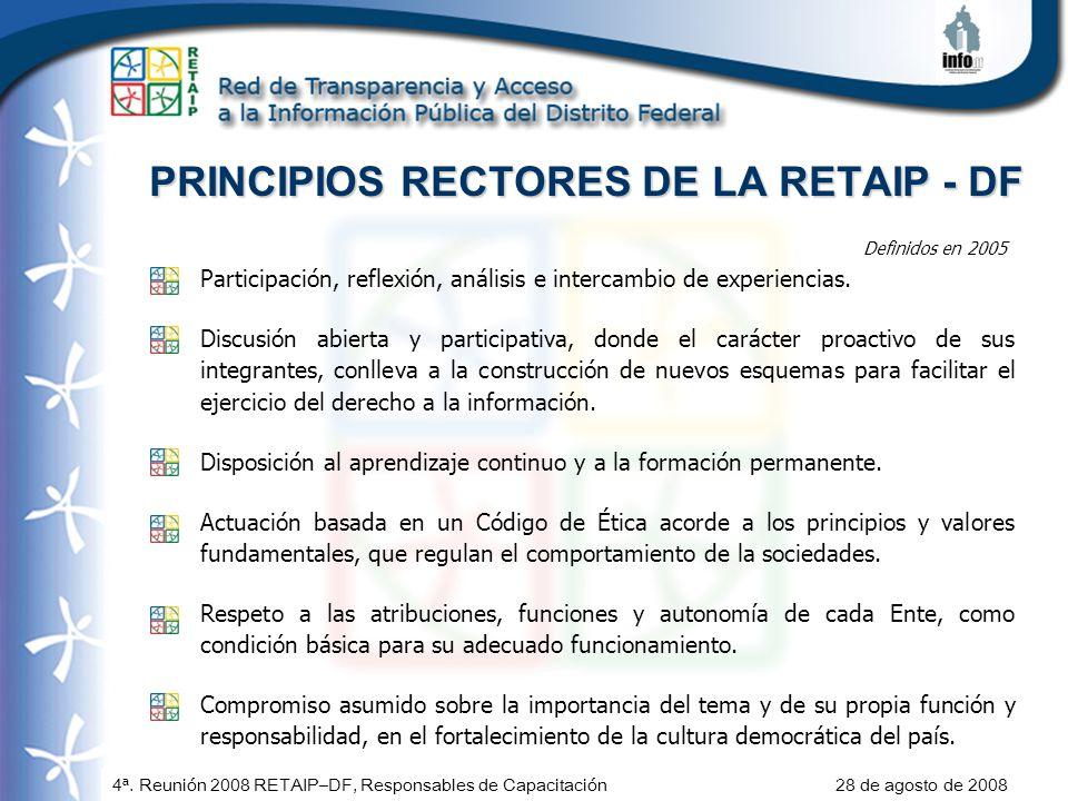 4ª. Reunión 2008 RETAIP–DF, Responsables de Capacitación 28 de agosto de 2008 PRINCIPIOS RECTORES DE LA RETAIP - DF Participación, reflexión, análisis